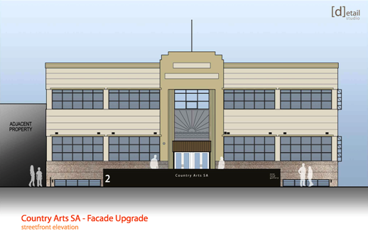 Street elevation of restoration works on the Country Arts SA building
