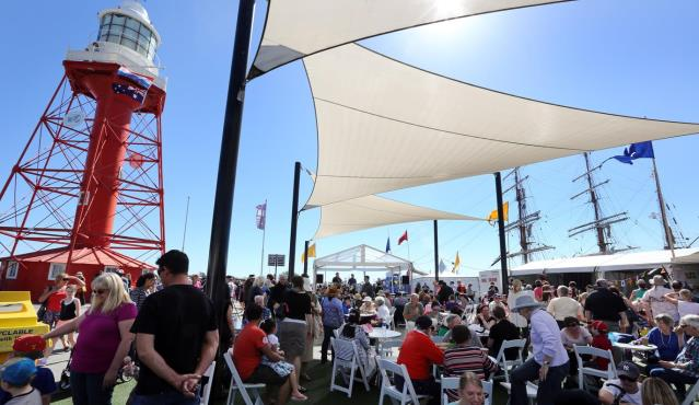 Crowds enjoy the Tall Ships Festival at Port Adelaide
