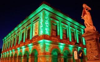 Country Arts SA bulding lit up at night