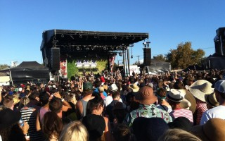 Crowds at the main stage of St Jerome's Laneway Festival held at Hart's Mill at Port Adelaide