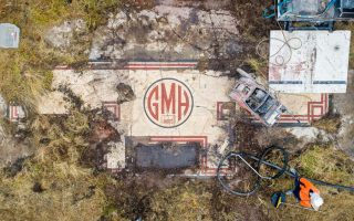A bird's eye view of the 90-year-old, art deco mosaic from the former GMH factory site at Port Adelaide while it was being saved from further environmental damage.